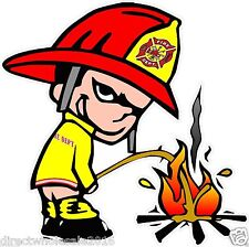Fireman Pee On Fire Lewd Funny Offensive Decal Sticker 4 Inch Arrogant CFD