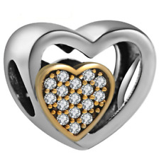 NEW Heart European Silver Pendant CZ Crystal Charm Beads Fit Necklace Bracelet =