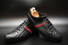 Gucci Men's Black Leather Trainers Sneakers Low-tops Size UK 11