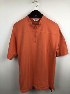 Orvis Men's Orange T-Shirt Short Sleeve 1/4 Zipper Side Slit Mock Neck (Large)