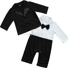 Newborn Baby Boy Gentleman Romper Formal Vest Suit Wedding Party Outfit Clothes