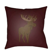 Moose by Surya Poly Fill Pillow, Red/Brown, 20' x 20' - MOO003-2020
