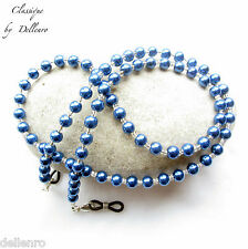 Classique. Azul con cuentas de VIDRIO PERLADO de soporte de Cadena Gafas Collar Gafas