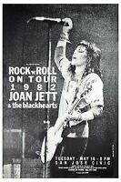 Joan Jett & The Blackhearts Rock N' Roll Tour San Jose Civic Poster 1982  12x18