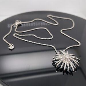 David Yurman Silver Medium Diamond Starburst Chain Pendant New $1750