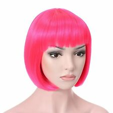 Long Cosplay Wig With Bangs Curly Straight Full Wig Synthetic Hair Party Women @
