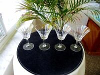 Set of 4 Clear Crystal Sherry Glasses Unbranded