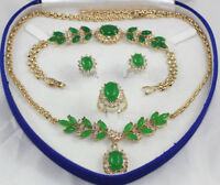 18K Gold Plated Crystal Jade Necklace Bracelet Ring Earrings Party Jewelry Sets