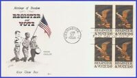 USA3 #1344 U/A COVER CRAFT FDC BL4  Register and Vote