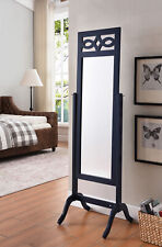 Kings Brand Furniture - Verne Navy Blue Finish Wood Free Standing Floor Mirror