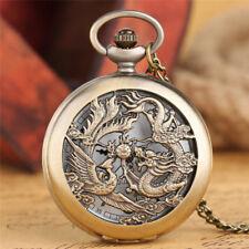Antique Hommes Bronze Chaîne Cuivre Dragon Phoenix Collier Montre De Poche Rétro Cadeau