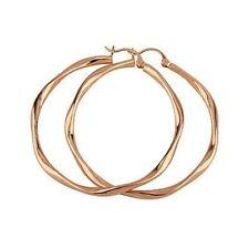 18K Rose Gold GP Liquid Look Ladies Round 49mm Hoop Earrings E94