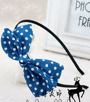 Women Girls Party School bow Ribbon Grace Sweet Dots Headband Hair head band