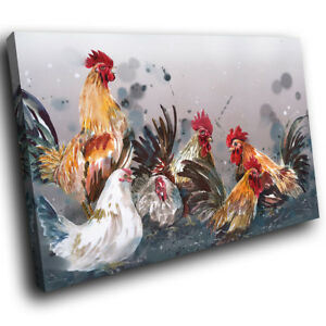A780 Grey Red Brown Chicken  Funky Animal Canvas Wall Art Large Picture Prints