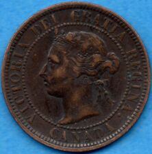 Canada 1884 1 Cent One Large Cent Coin - Very Fine