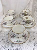 Set Of 5 Vintage Royal Stafford Cups & saucers Royal Stuart Tartan Scotish