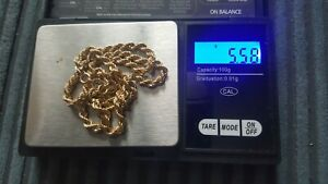 9ct gold rope chain, not scrap, 18 inch 5.58grams