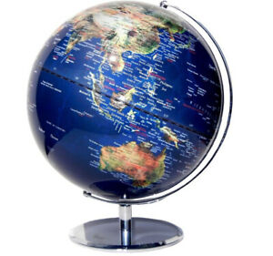 STUNNING 25cm Educational World Globe Clear Blue Satellite View  Home Decor