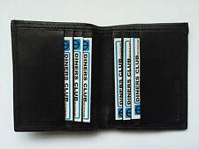 Genuine Black Leather Mens Gents Bifold Credit Card Holder Note Wallet Slim