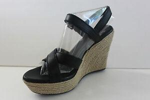 Women's Ugg Jackilyn Espadrille Black Leather Wedge Heel Sandal Shoe Size 9.5 M