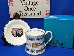 Prince Andrew Sarah Ferguson Royal Wedding * Coalport Tankard Cup + Coaster Dish