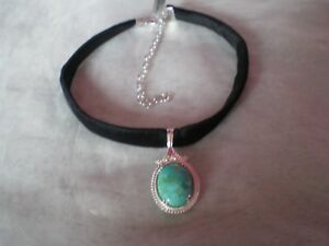 Cochise Turquoise necklace, 11.28 carats, 16 inches, 7.74 grams 925 Sterling Sil