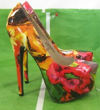 "new Multi 6.5"" Stiletto High Heel 2.5"" Platform Womens Sexy Shoes Size 6.5"