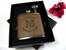 Custom Engraved Leather Flask Personalized Groomsmen Gift Box Funnel Initial