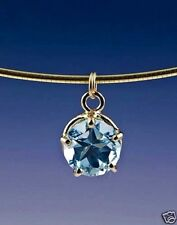 Lone Star Cut Blue Topaz Drop 14k Gold Pendant