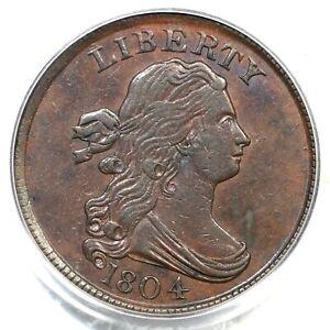 1804 C-11 R-3 PCGS AU 55 Plain 4, Stems CAC Draped Bust Half Cent Coin 1/2c