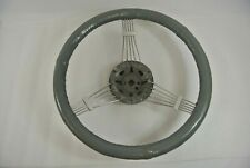 Banjo Steering Wheel Gray Leather Wrapped 0444 Vintage Hot Rat Rod 1950s 1960s