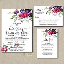 100 Personalized  Wedding Invitations Magenta Floral Suite with Envelopes