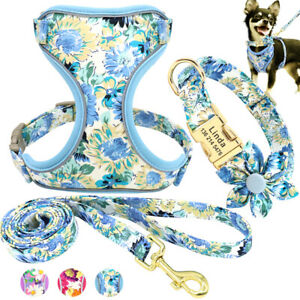 Personalized Dog Collar and Leash Reflective Mesh Vest Harness Name Tag Engraved