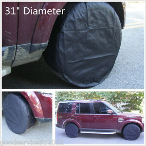 4XBlack Oxford Cloth Fabric Car Pickup Wheel Tire Protection Bag Cover Raincover
