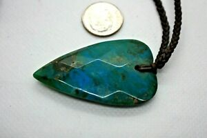 Beautiful Hand Carved Natural Turquoise Heart Pendant on Brown Woven Cord Chain