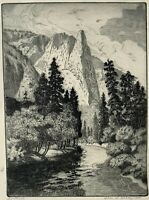 Chicago Illinois Artist Charles W Dalhgreen Signed Etching. Sentinel. Montana