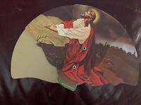 Vintage Hand Fan Christ in Gethsemane Elliott & Gard Mortuary Hutchinson KS