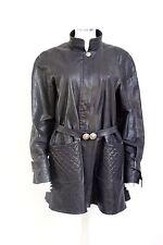 Chanel matelassé noir cuir swing coat 42 uk 14