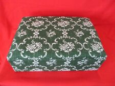 Storage Box Fabric Covered 40 X 13 X 28 Cms Green White Floral Pattern