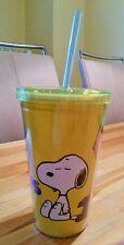 Snoopy Charlie Brown / Peanuts - Becher gelb mit Deckel und Strohhalm / USA  Neu