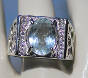 Aquamarine 2.60ct,Men and Boys White Gold Ring,VS,Natural,Untreated,Oval,New