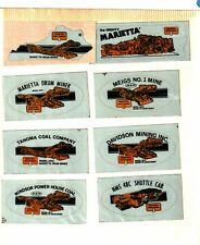 NICE OLD LOT OF 8 NATIONAL MINE SERVICE DIFF. MINES COAL MINING STICKERS # 1011