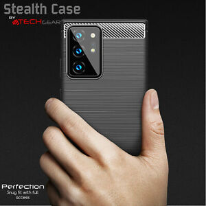 For Samsung Galaxy S21 Ultra Carbon Fibre Soft Protective Shockproof Case Cover
