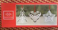 Lenox Ornaments Star, Tree, and Heart Metal Christmas - Set of 3