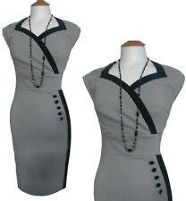 Fab WW2 40s 50s Button Knee Length Fixed Wrap Wiggle Dress 8 10 12 14 16