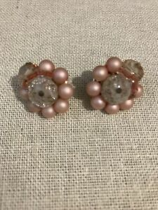 Vintage Pink Pearl With Accents Clip Earrings