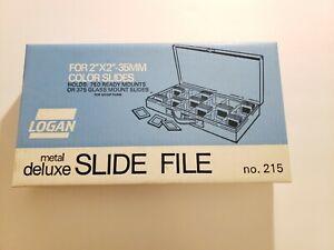"""Logan Metal Deluxe Slide File #215 Holds 750 2"""" x 2"""" - 35mm Slides -Blue NIB"""