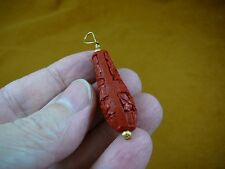 (J-24) RED TEARDROP CINNABAR Pendant necklace carved wood lacquer bead jewelry