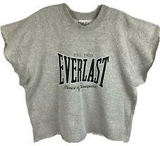 Vtg 80s Everlast Sleeveless Boxing Workout Muscle Gym Sweatshirt Mens Sz Large