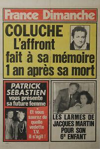 """""""COLUCHE"""" Affiche originale entoilée FRANCE DIMANCHE 1987"""